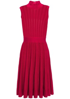 Herve Leger Hervé Léger Woman Gathered Pointelle-knit Dress Tomato Red