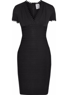 Herve Leger Hervé Léger Woman Gathered Stretch-knit And Bandage Mini Dress Black