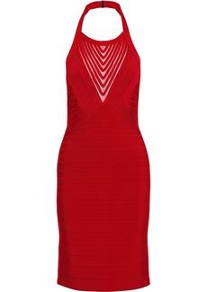Herve Leger Hervé Léger Woman Gwyn Mesh-trimmed Bandage Halterneck Dress Crimson