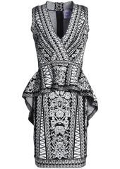 Herve Leger Hervé Léger Woman Jacquard-knit Peplum Dress Black