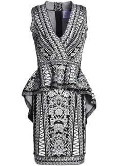 Herve Leger Hervé Léger Woman Jacquard-knit Peplum Dress Black