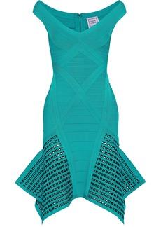 Herve Leger Hervé Léger Woman Jourdan Flared Laser-cut Bandage Dress Turquoise