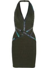 Herve Leger Hervé Léger Woman Kaitlyn Sequin-embellished Bandage Halterneck Mini Dress Army Green
