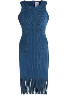 Herve Leger Hervé Léger Woman Khloe Fringed Metallic Bandage Dress Storm Blue