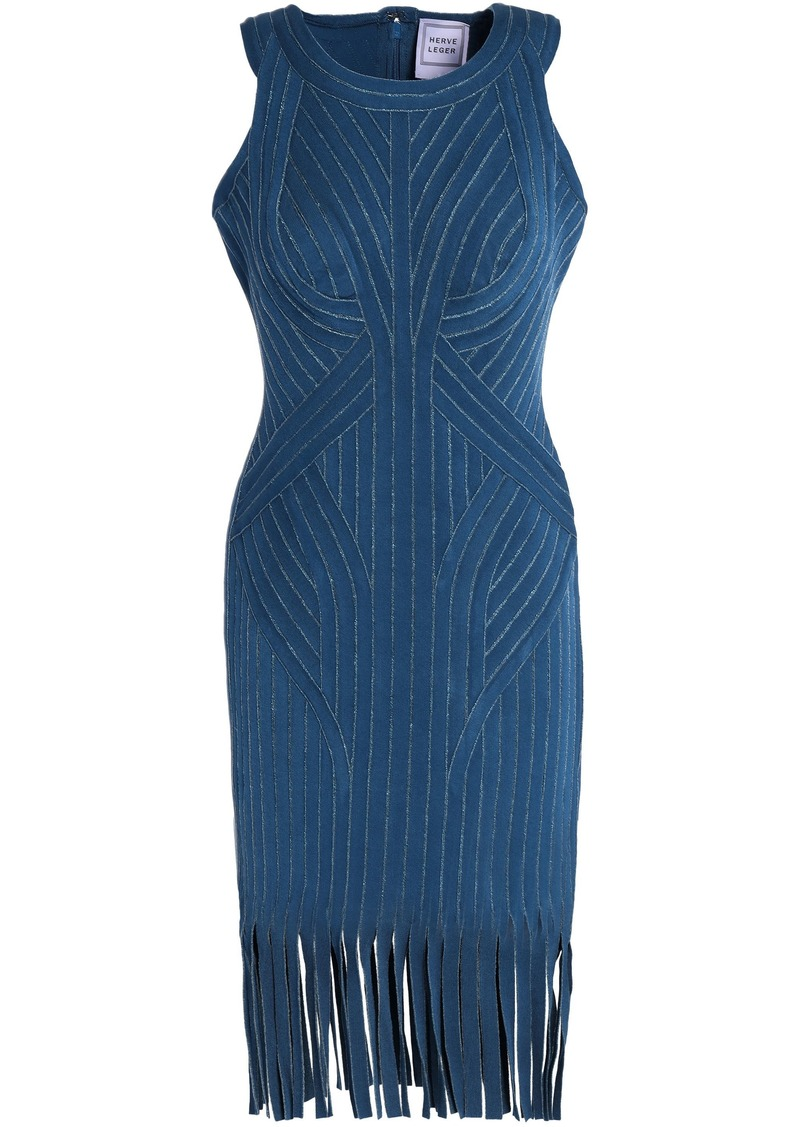 Herve Leger Hervé Léger Woman Khloe Fringed Metallic Bandage Dress Storm Blue