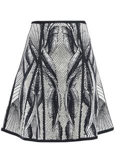 Herve Leger Hervé Léger Woman Kristina Bead-embellished Jacquard-knit Mini Skirt Midnight Blue
