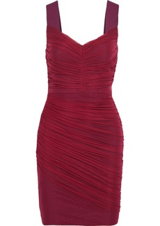 Herve Leger Hervé Léger Woman Layered Ruched Tulle And Bandage Mini Dress Claret