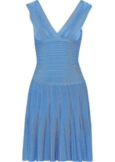 Herve Leger Hervé Léger Woman Magdalene Pointelle-trimmed Bandage Dress Light Blue