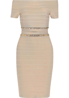 Herve Leger Hervé Léger Woman Marina Off-the-shoulder Crystal-embellished Bandage Dress Beige