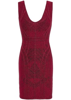 Herve Leger Hervé Léger Woman Metallic Bandage-jacquard Mini Dress Claret