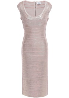 Herve Leger Hervé Léger Woman Metallic Coated Bandage Dress Rose Gold