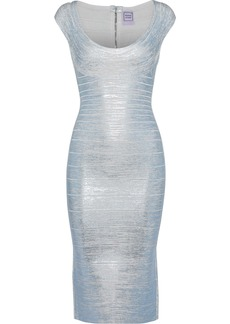 Herve Leger Hervé Léger Woman Metallic Coated Bandage Dress Sky Blue