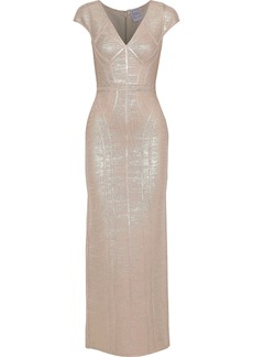 Herve Leger Hervé Léger Woman Metallic Coated Bandage Gown Rose Gold