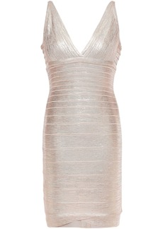 Herve Leger Hervé Léger Woman Metallic Coated Bandage Mini Dress Rose Gold