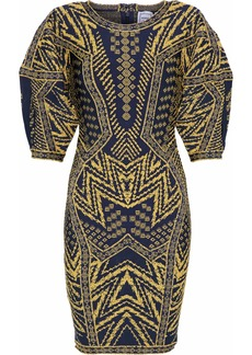 Herve Leger Hervé Léger Woman Metallic Jacquard-knit Mini Dress Navy