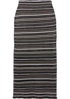 Herve Leger Hervé Léger Woman Metallic Striped Mesh Midi Pencil Skirt Black