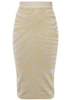 Herve Leger Hervé Léger Woman Metallic Zebra-jacquard Pencil Skirt Gold