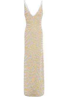 Herve Leger Hervé Léger Woman Metallic Zebra-print Stretch-knit Gown Gold