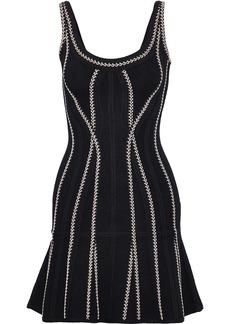 Herve Leger Hervé Léger Woman Miica Fluted Jacquard-knit Mini Dress Black