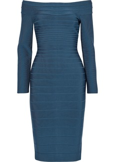 Herve Leger Hervé Léger Woman Off-the-shoulder Bandage Dress Storm Blue