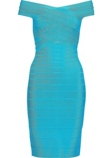 Herve Leger Hervé Léger Woman Off-the-shoulder Bandage Dress Turquoise