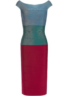 Herve Leger Hervé Léger Woman Off-the-shoulder Color-block Bandage Dress Green