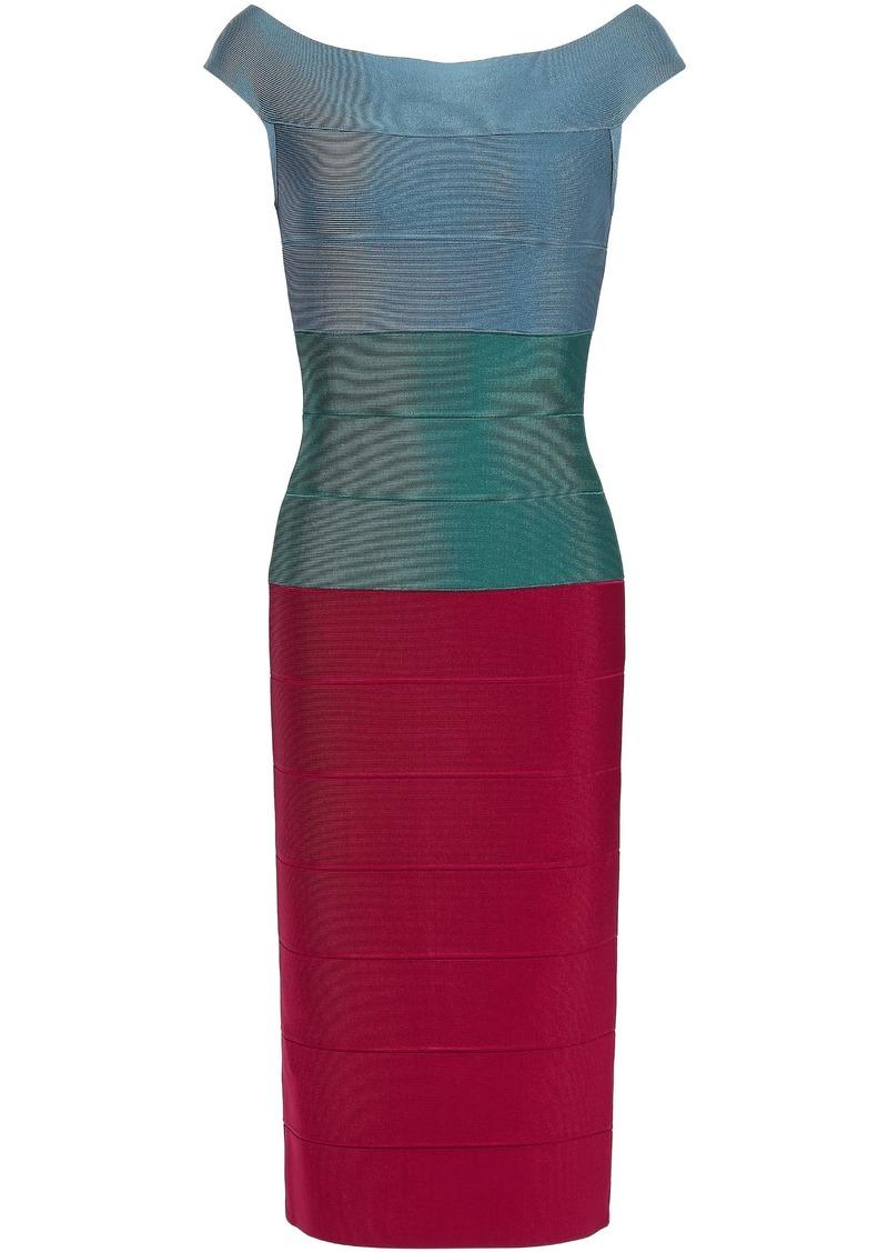 Herve Leger Hervé Léger Woman Off-the-shoulder Color-block Bandage Dress Green