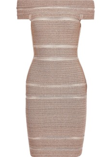 Herve Leger Hervé Léger Woman Off-the-shoulder Metallic Bandage Mini Dress Blush