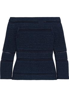 Herve Leger Hervé Léger Woman Off-the-shoulder Crochet-trimmed Metallic Bandage Top Midnight Blue