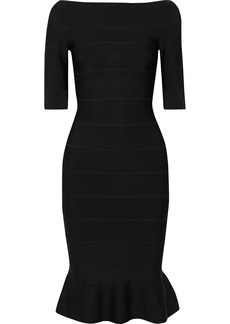 Herve Leger Hervé Léger Woman Off-the-shoulder Fluted Bandage Dress Black