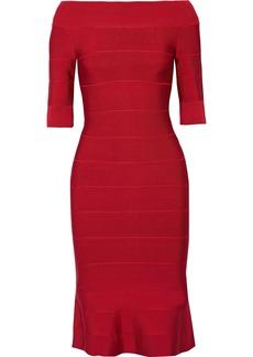 Herve Leger Hervé Léger Woman Off-the-shoulder Fluted Bandage Dress Crimson