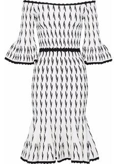 Herve Leger Hervé Léger Woman Off-the-shoulder Fluted Jacquard-knit Dress White