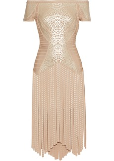 Herve Leger Hervé Léger Woman Off-the-shoulder Fringed Metallic Printed Bandage Dress Gold
