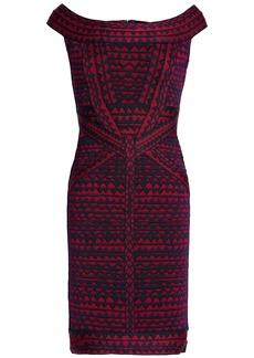 Herve Leger Hervé Léger Woman Christy Off-the-shoulder Bandage-jacquard Mini Dress Claret
