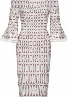 Herve Leger Hervé Léger Woman Off-the-shoulder Jacquard-knit Dress White