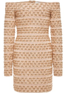 Herve Leger Hervé Léger Woman Off-the-shoulder Metallic Fil Coupé Bandage Mini Dress Blush