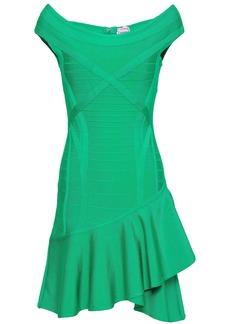 Herve Leger Hervé Léger Woman Off-the-shoulder Ruffled Bandage Mini Dress Jade