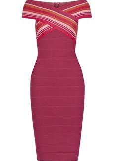 Herve Leger Hervé Léger Woman Off-the-shoulder Striped Bandage Dress Magenta