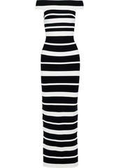 Herve Leger Hervé Léger Woman Off-the-shoulder Striped Bandage Gown Black