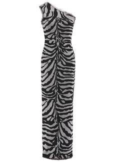 Herve Leger Hervé Léger Woman One-shoulder Frayed Metallic Zebra-jacquard Gown Animal Print