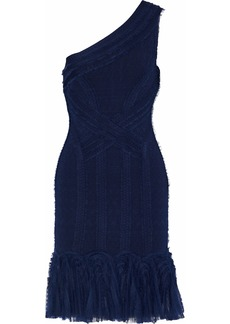 Herve Leger Hervé Léger Woman One-shoulder Lace-paneled Cloqué Mini Dress Navy