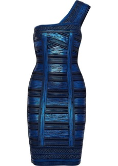 Herve Leger Hervé Léger Woman One-shoulder Metallic Printed Bandage Dress Bright Blue