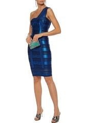 Herve Leger Hervé Léger Woman One-shoulder Metallic Printed Bandage Dress Bright Blue