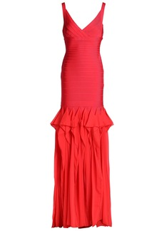 Herve Leger Hervé Léger Woman Pleated Chiffon-paneled Bandage Gown Papaya