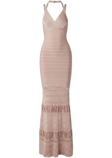 Herve Leger Hervé Léger Woman Pointelle Knit-paneled Bandage Gown Blush