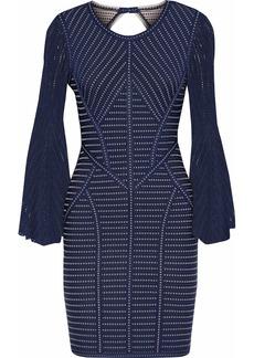 Herve Leger Hervé Léger Woman Pointelle-paneled Cutout Jacquard-knit Mini Dress Navy