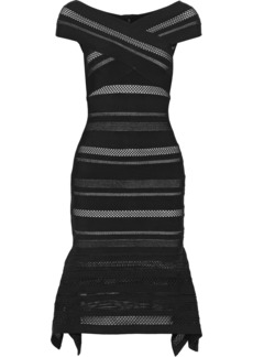 Herve Leger Hervé Léger Woman Pointelle-trimmed Bandage Dress Black