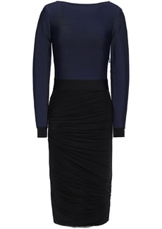 Herve Leger Hervé Léger Woman Ponte And Ruched Stretch-mesh Dress Midnight Blue