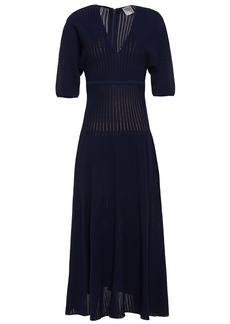 Herve Leger Hervé Léger Woman Ribbed-knit Midi Dress Midnight Blue