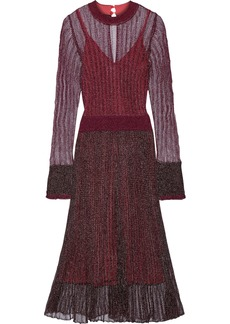 Herve Leger Hervé Léger Woman Ruffle-trimmed Metallic Crochet-knit Midi Dress Burgundy